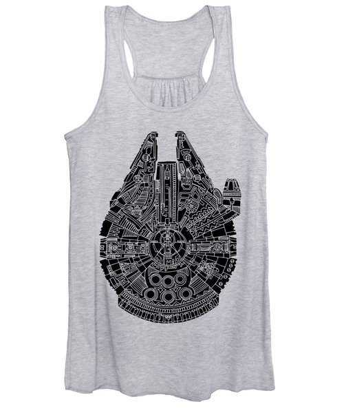 Star Wars Art - Millennium Falcon - Black Women's Tank Top