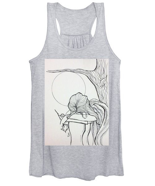 Women's Tank Top featuring the drawing Stone Angel by Loretta Nash