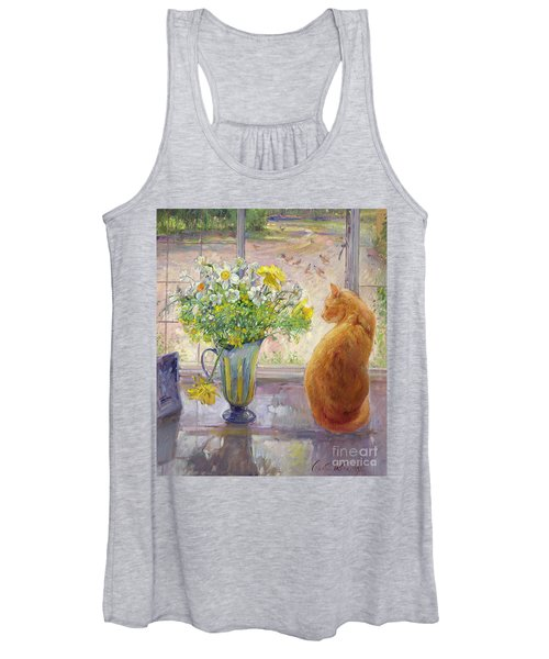 Striped Jug With Spring Flowers Women's Tank Top