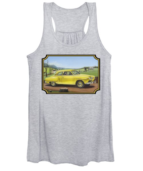Studebaker Champion Antique Americana Nostagic Rustic Rural Farm Country Auto Car Painting Women's Tank Top