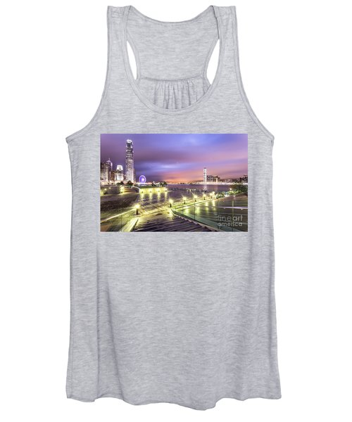 Stunning Night View Of The Famous Hong Kong Island Skyline And V Women's Tank Top