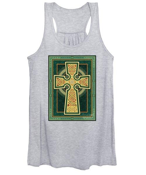 Stylized Celtic Cross In Green Women's Tank Top