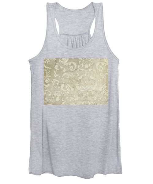 Summer At The Cottage - Vintage Style Wooden Scroll Flourishes Women's Tank Top