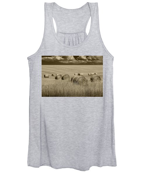 Summer Harvest Field With Hay Bales In Sepia Women's Tank Top