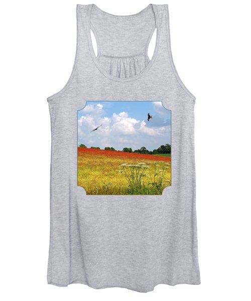 Summer Spectacular - Red Kites Over Poppy Fields - Square Women's Tank Top