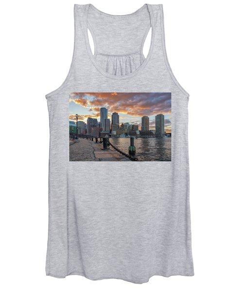 Summer Sunset At Boston's Fan Pier Women's Tank Top