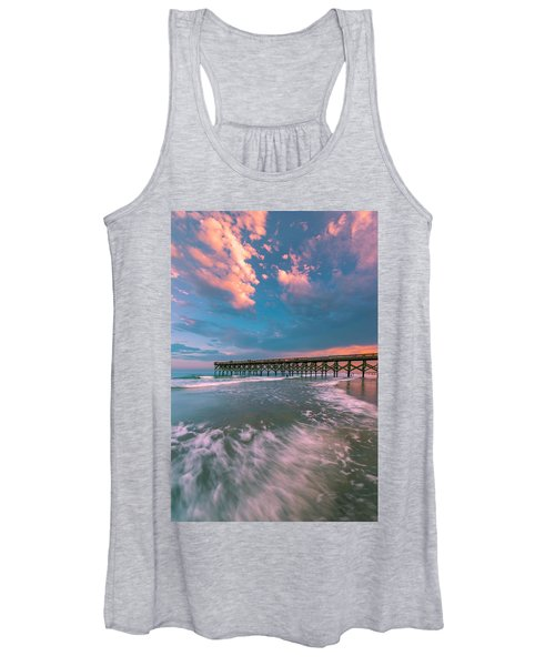 Sunset At Wilmington Crystal Pier In North Carolina Women's Tank Top