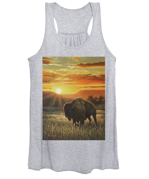 Sunset In Bison Country Women's Tank Top
