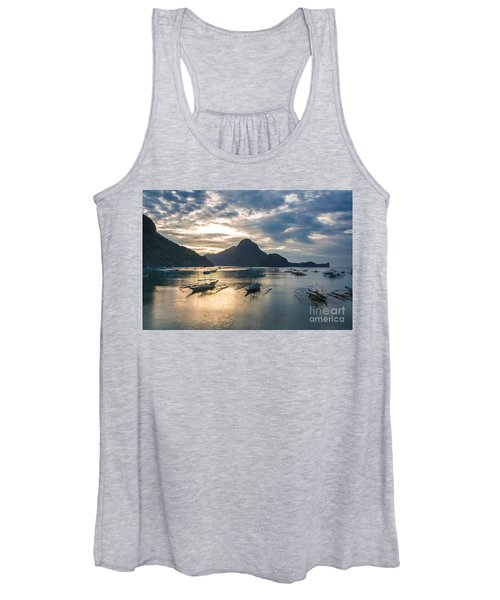 Sunset Over El Nido Bay In Palawan, Philippines Women's Tank Top