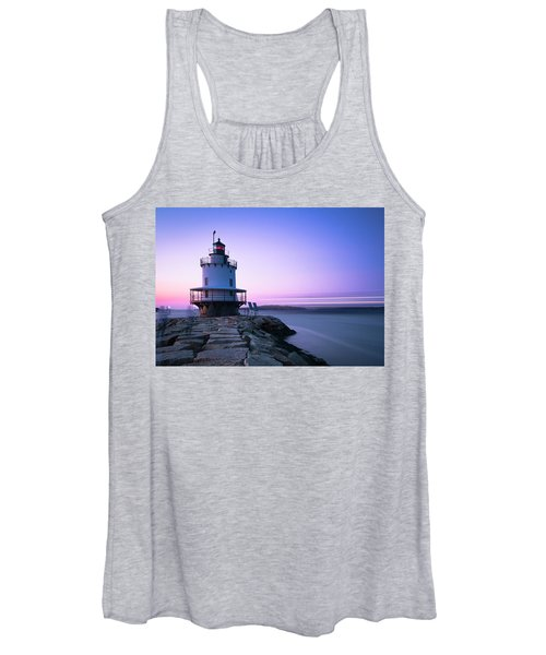 Sunset Over Spring Breakwater Lighthouse In South Maine Women's Tank Top