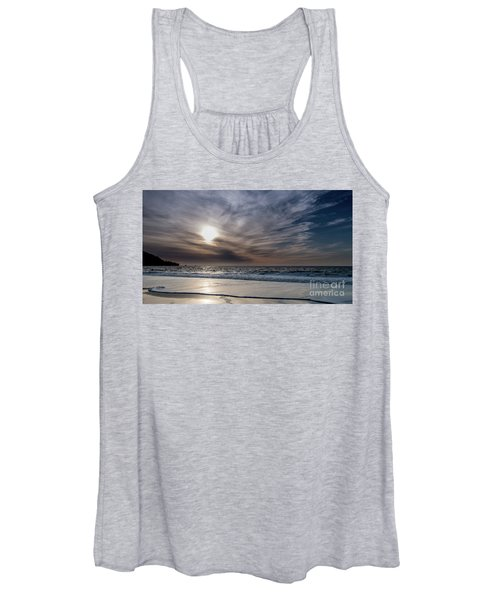 Sunset Over West Coast Beach With Silk Clouds In The Sky Women's Tank Top