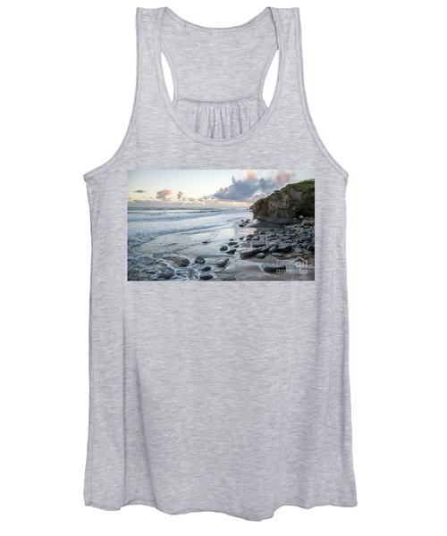 Sunset View In The Distance With Large Rocks On The Beach Women's Tank Top