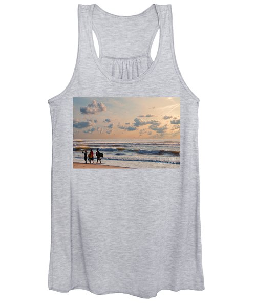 Surfing At Sunrise On The Jersey Shore Women's Tank Top