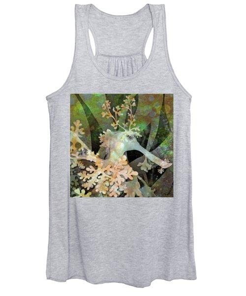 Teal Leafy Sea Dragon Women's Tank Top