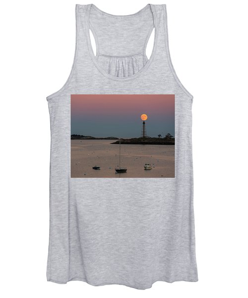 The 2016 Supermoon Balancing On The Marblehead Light Tower In Marblehead Ma Women's Tank Top