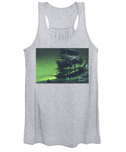 Women's Tank Top featuring the painting The Flying Dutchman by Tithi Luadthong