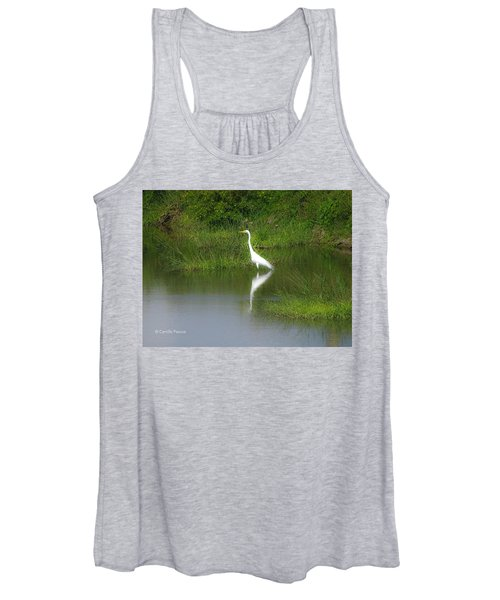 Great Egret By The Waters Edge Women's Tank Top