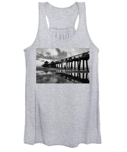 Naples Pier At Sunset Naples Florida Black And White Women's Tank Top