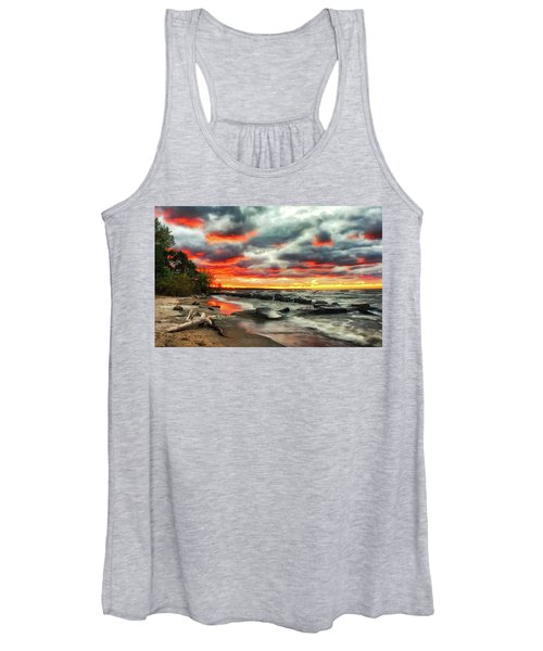The Sky On Fire At Sunset On Lake Erie Women's Tank Top