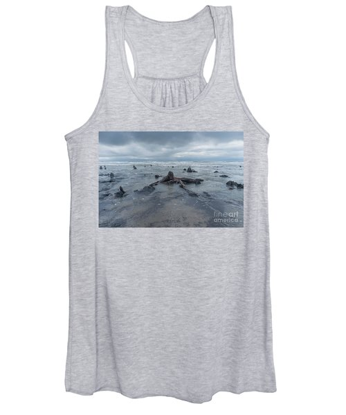 The Tide Comes In Over The Bronze Age Sunken Forest At Borth On The West Wales Coast Uk Women's Tank Top