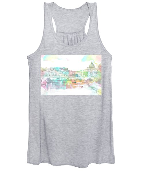 The View From Castel Sant'angelo Towards Ponte Sant'angelo, Brid Women's Tank Top