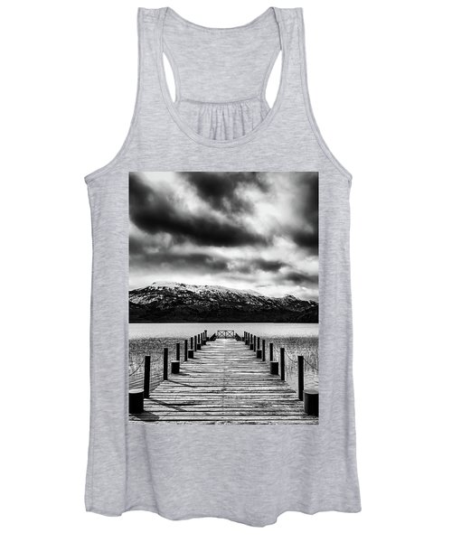 Landscape With Lake And Snowy Mountains In The Argentine Patagonia - Black And White Women's Tank Top