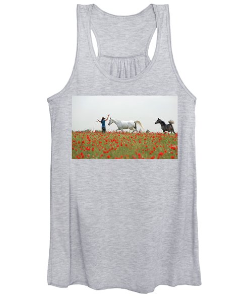 Three At The Poppies' Field Women's Tank Top