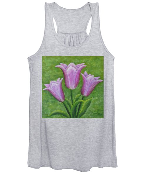 Women's Tank Top featuring the painting Three Pink Tulips by Nancy Nale