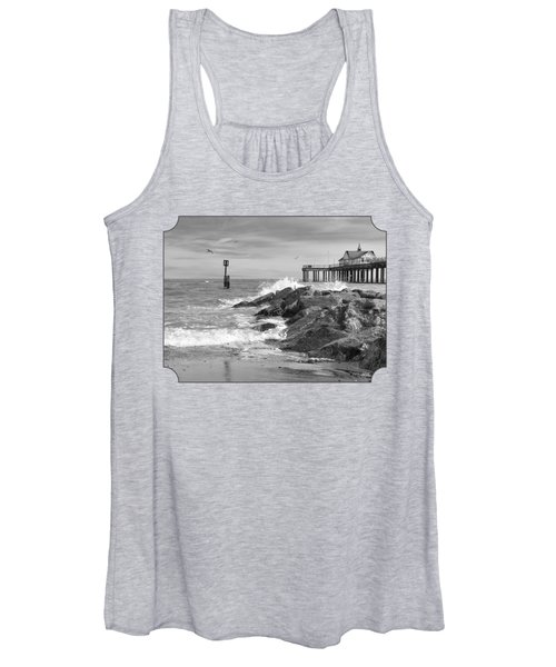 Tide's Turning - Black And White - Southwold Pier Women's Tank Top