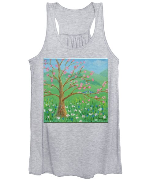 Women's Tank Top featuring the painting Tree For Two by Nancy Nale