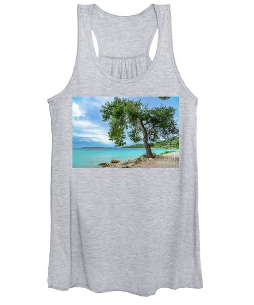 Tree On Northern Dalmatian Coast Beach, Croatia Women's Tank Top