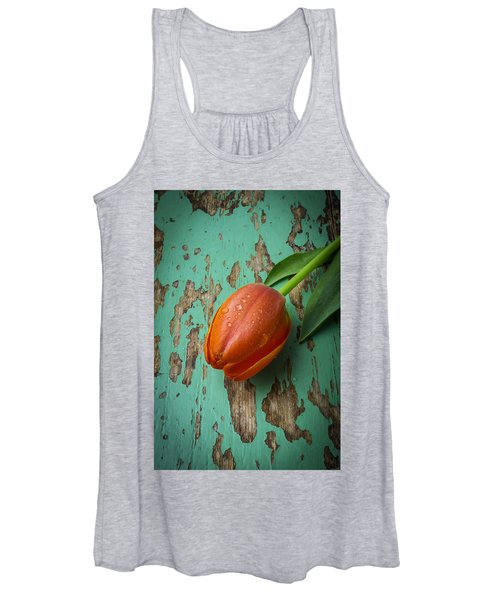 Tulip On Old Green Table Women's Tank Top