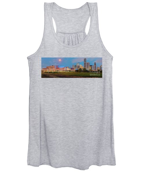 Twilight Panorama Of Downtown Houston Skyline And University Of Houston - Harris County Texas Women's Tank Top