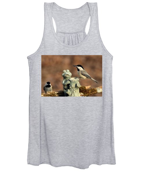 Two Black-capped Chickadees And Frog Women's Tank Top