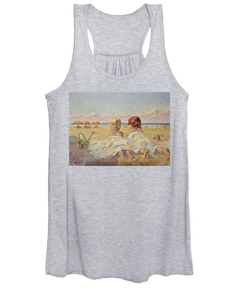 Two Children On The Beach Women's Tank Top