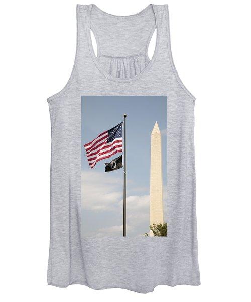 Us And Pow-mia Flags Fly In Washington Dc Women's Tank Top