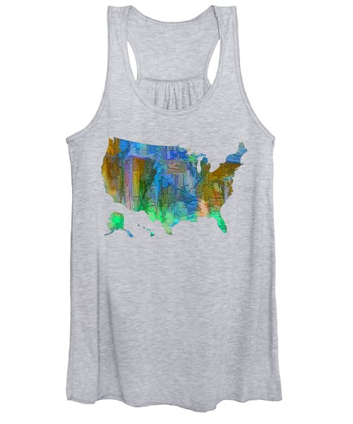 Usa - Colorful Map Women's Tank Top