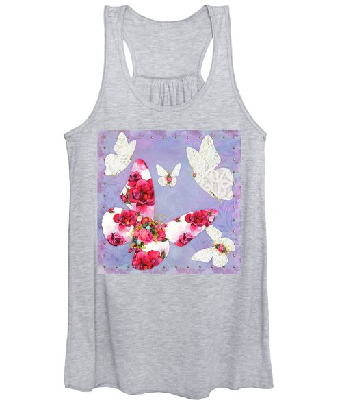 Victorian Wings, Fantasy Floral And Lace Butterflies Women's Tank Top