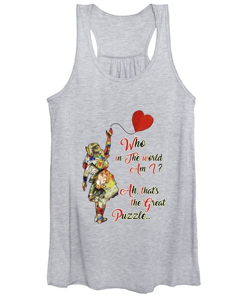 Vintage Alice In Wonderland Collage Who In The World Am I Quote Women's Tank Top