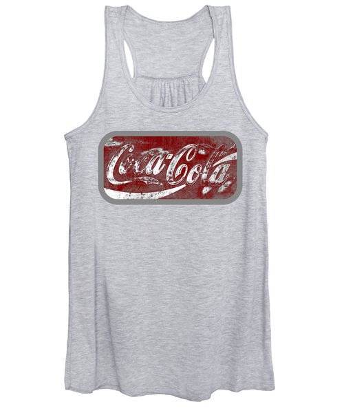 Coca Cola Red And White Sign Gray Border With Transparent Background Women's Tank Top
