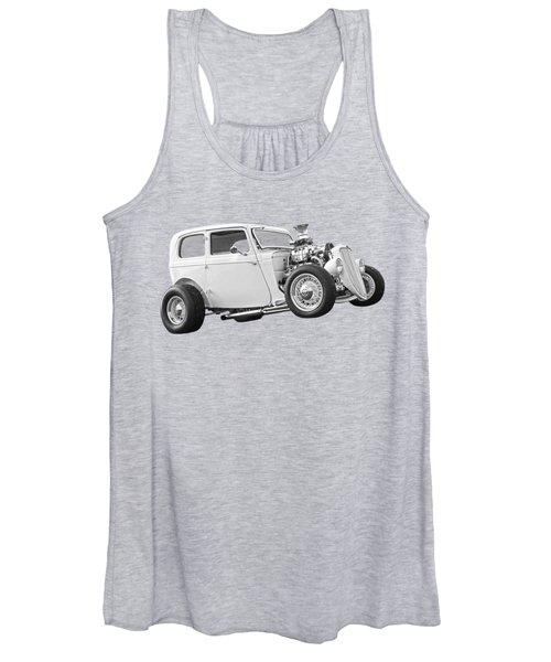 Vintage Ford Hot Rod In Black And White Women's Tank Top