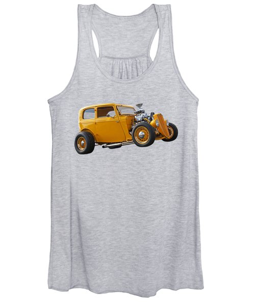 Vintage Ford Hot Rod In Yellow Women's Tank Top