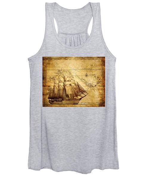 Vintage Ship Map Women's Tank Top