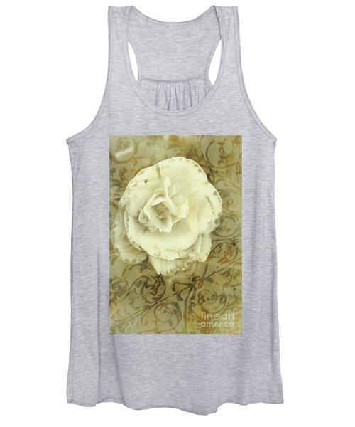 Vintage White Flower Art Women's Tank Top