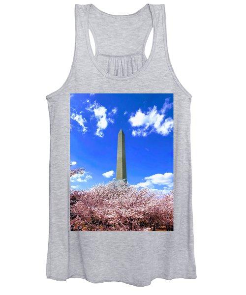 Washington Monument Cherry Blossoms Women's Tank Top