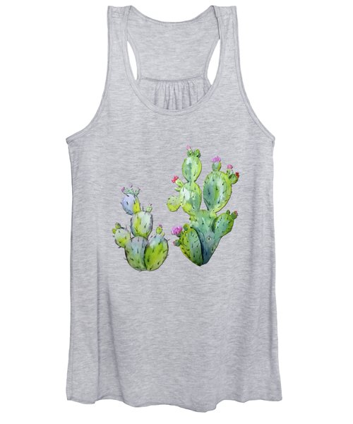 Water Color Prickly Pear Cactus Adobe Background Women's Tank Top