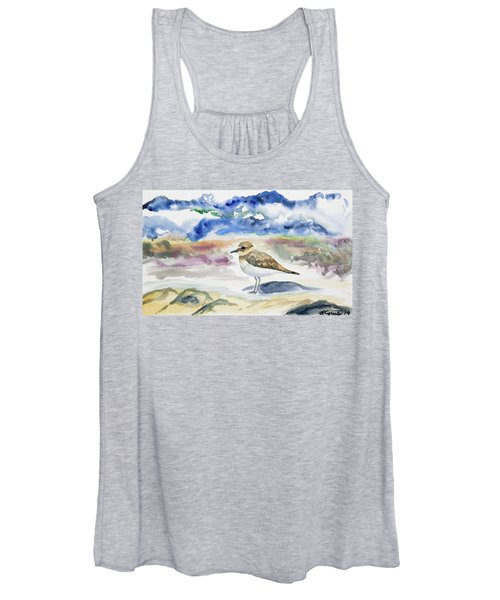 Watercolor - Double-banded Plover On The Beach Women's Tank Top
