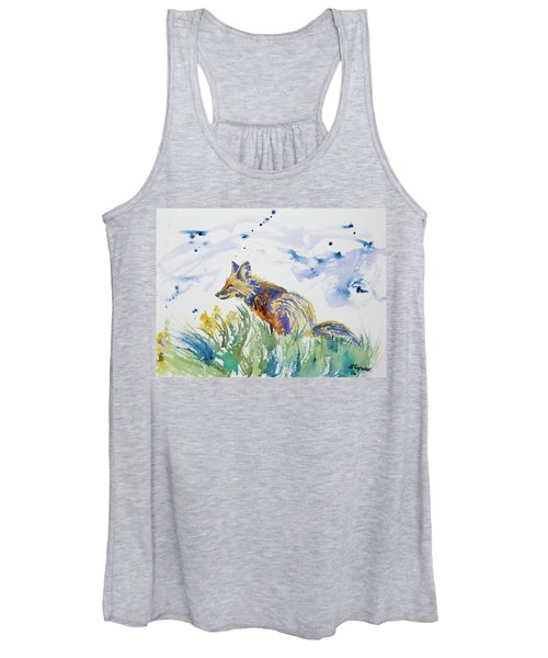 Watercolor - Fox On The Lookout Women's Tank Top