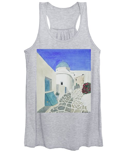 Watercolor - Paros Church And Street Scene Women's Tank Top
