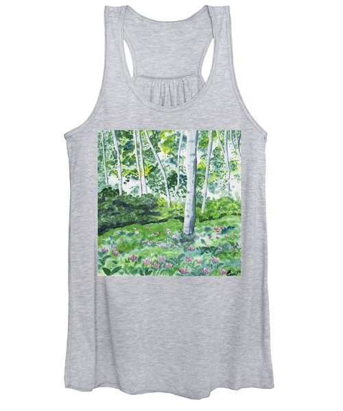 Watercolor - Spring Forest And Flowers Women's Tank Top